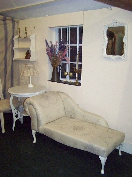 small chaise longue covered in kate forman fabric, can be made to order.