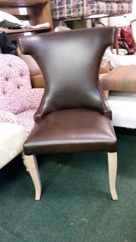 leather dining chair, can be covered in fabric.