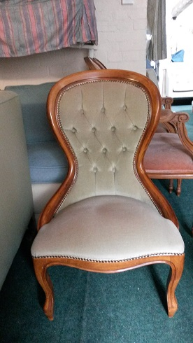 buttoned back nursing chair, could be painted, awaiting your choice of fabric.