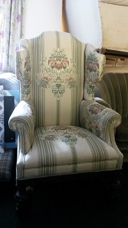 Elegant period wing chair, would look great in wool tartan.
