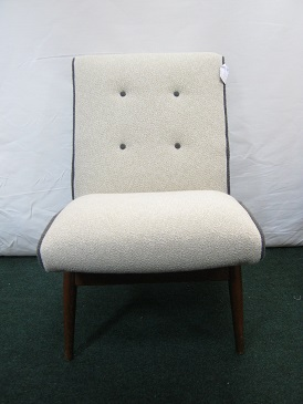 original 1960's chair in cream wool with grey wool detailing.