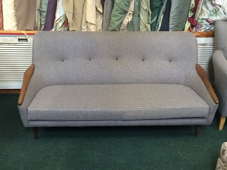 1960's vintage sofa, before and after. After