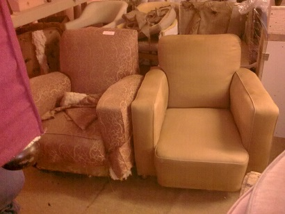 pair of club chairs. Before
