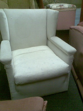 club style wing armchair to be recovered. (low back sofa available to match this chair, in sofas for restoration.)