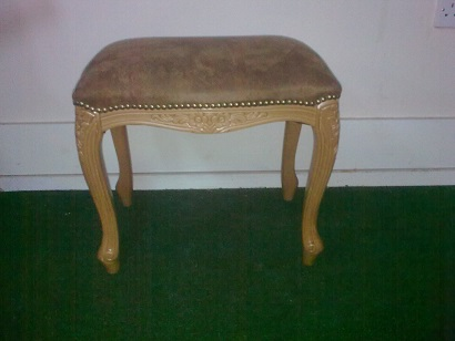 French style Dressing table stool, with carved detail, covered in suede fabric, could be recovered/frame painted.