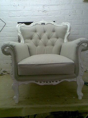 Painted frame, buttoned arm chair.(This one sold, another available for restoration. see second picture.)
