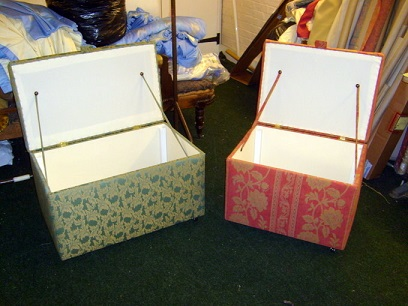 ottoman storage boxes made to order, in any size.