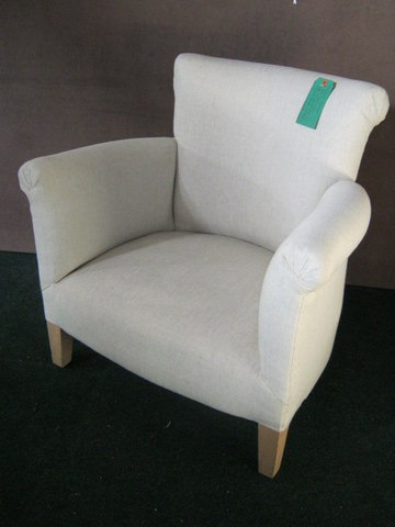 Ross arm chair, covered in cream linen.