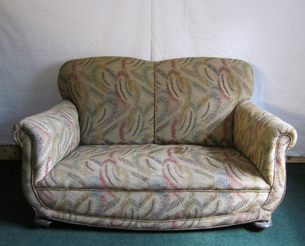 art deco 2 seater sofa, traditional upholstery.