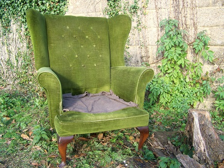 wing chair for restoration, with or without buttons.(this one sold many more wing chairs available)