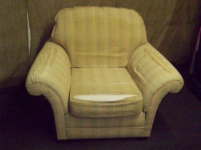 classic shaped armchair, with seat and back cushions, awaiting recovering.
