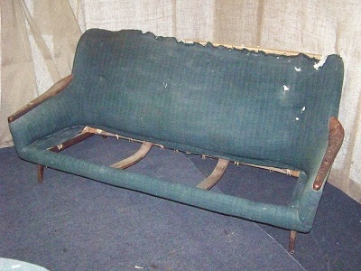 1960's vintage sofa, before and after. Before