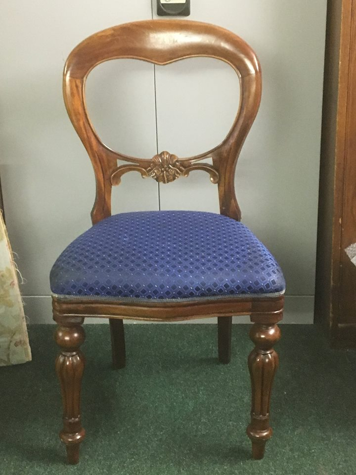 set of five Victorian style dining chairs. (also 3 similar for a matched set of 8.)
