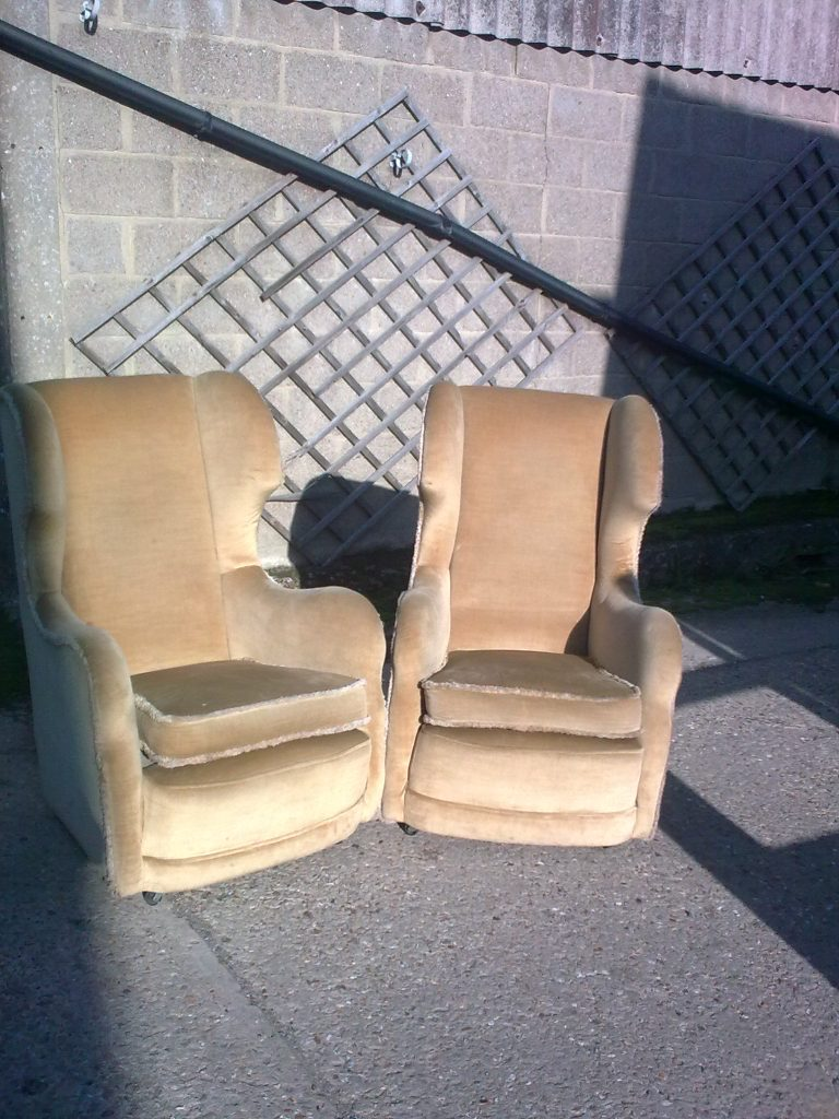 Pair of traditionally upholstered high back chairs. (plus second similar pair.)