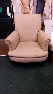 Victorian armchair, restored, remodelled and recovered in velvet. Before