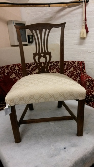 original Georgian side chair, covered in cream damask fabric.