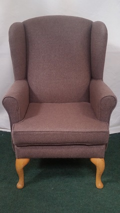 Wing armchair, covered in wool fabric. (this chair now sold, others can be recovered in your choice of fabric.)
