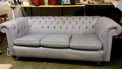 large three seater chesterfield for renovation.
