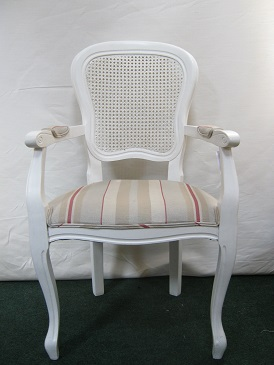 French style painted chair, with cane back and stripe fabric seat.