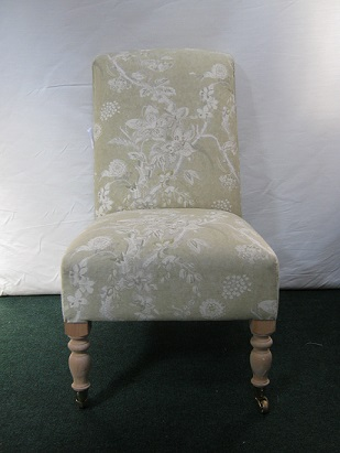 Victorian style bedroom or occasional chair, covered in linwood linen fabric.