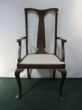 carver chair with stripe linen seat cover.