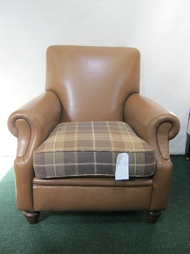 leather chair with tartan seat cushion (new.)