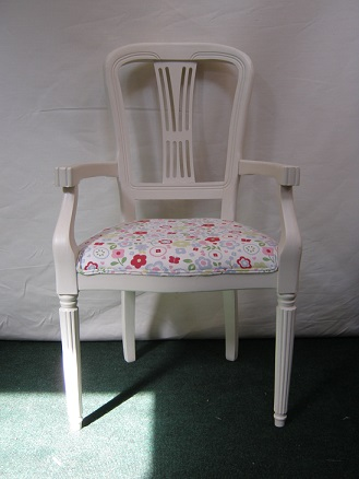 painted open arm chair, with cotton print seat cover.