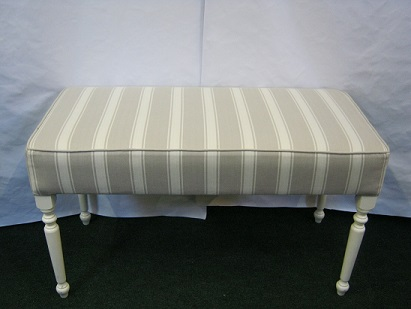 long bench stool this one in a grey stripe fabric, can be made to order in other fabrics/sizes.