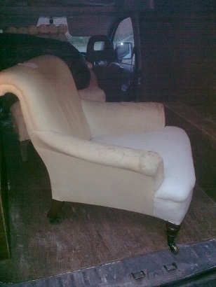 unusual armchair, recovered in moon wool. Before
