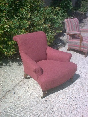 unusual armchair, recovered in moon wool. After
