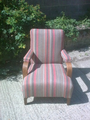 small wooden armchair, restored and recovered in a linwood stripe fabric. After