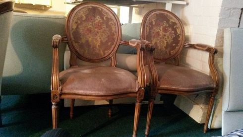 Pair of French style arm chairs, for restoration. this pair now sold, similar can be made from new frames.