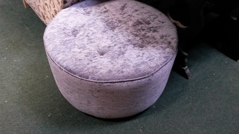 round footstool with shallow buttons, can be made to order.