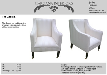 Georgia chair, also available as a two seater sofa. with cushions or fixed seat.